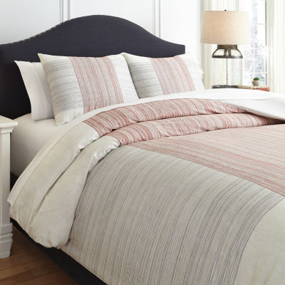 Signature Design by Ashely® Jenae Red Stripe Duvet Cover Set
