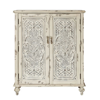 Distressed Fleur De Leis Accent Door Chest