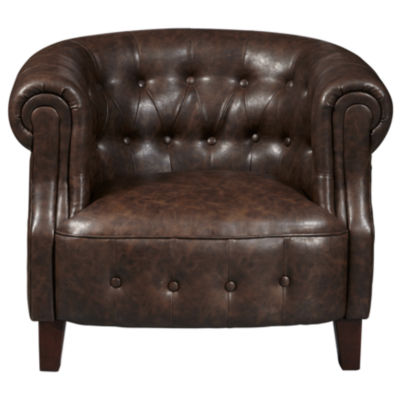 Brown Faux Leather Tufted Barrel Arm Chair