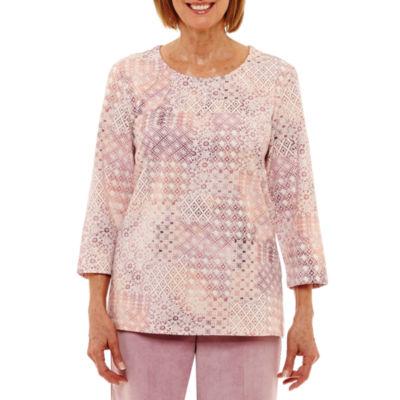 Alfred Dunner Winter Garden 3/4 Sleeve Crew Neck Dots T-Shirt - Womens