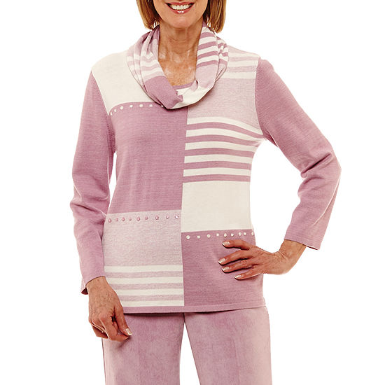 Alfred Dunner Winter Garden Womens Crew Neck Geometric Layered Sweaters