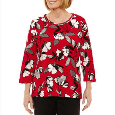 Alfred Dunner Talk Of The Town 3/4 Sleeve Crew Neck Floral T-Shirt - Womens