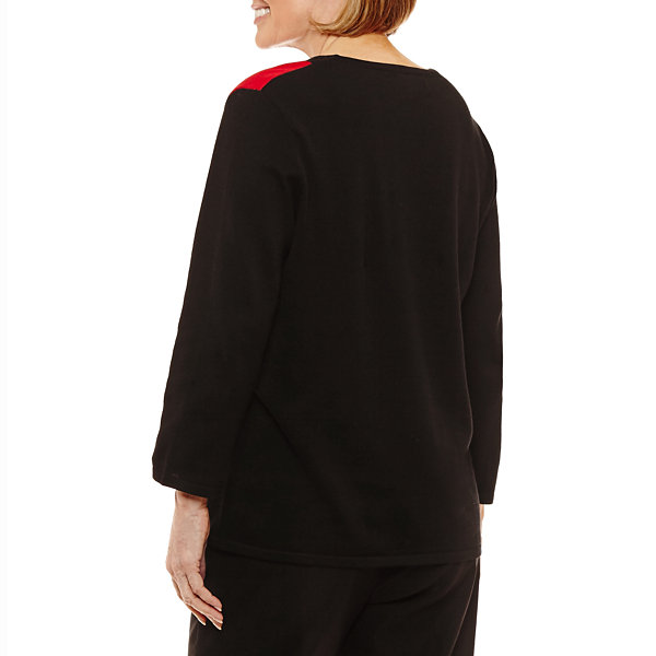 Alfred Dunner Talk Of The Town 3/4 Sleeve Crew Neck Layered Sweaters