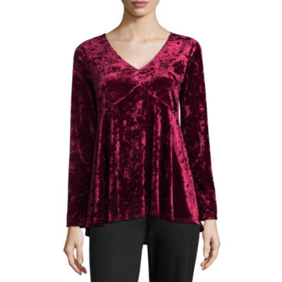 Alyx Long Sleeve V Neck Velvet Blouse