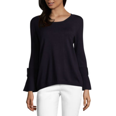 Liz Claiborne Long Sleeve Boat Neck Tie Sleeve Pullover Sweater
