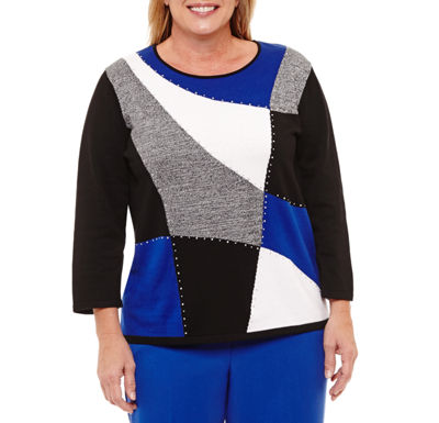 Alfred Dunner High Roller Colorblock Pullover Sweater-Plus