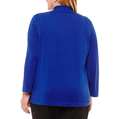 Alfred Dunner High Roller 3/4 Sleeve Crew Neck Layered Sweaters-Plus