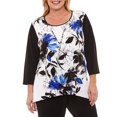 Alfred Dunner High Roller 3/4 Sleeve Floral T-Shirt- Plus