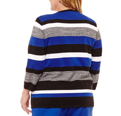 Alfred Dunner High Roller Stripe Layered Sweater with Necklace-Plus