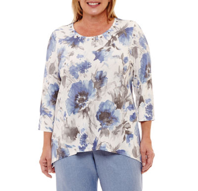 Alfred Dunner Silver Belles Watercolor Floral T-Shirt-Plus