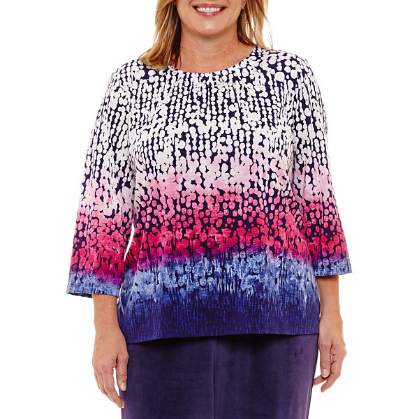 Alfred Dunner Royal Jewels 3/4 Sleeve Ombre T-Shirt-Plus