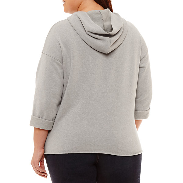 Project Runway 3/4 Sleeve Knit Hoodie - Plus