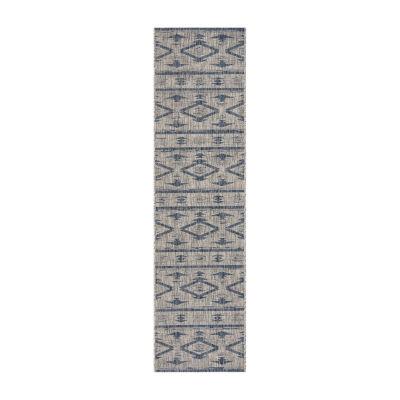 Safavieh Courtyard Collection Easton Geometric Indoor/Outdoor Runner Rug