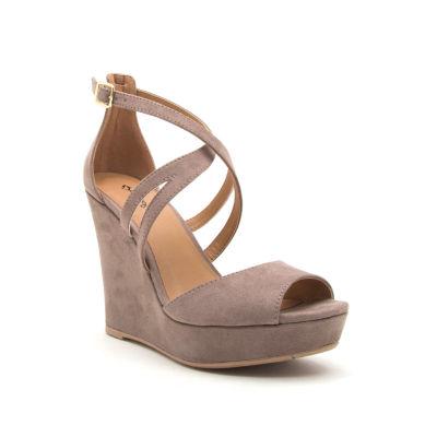 Qupid Lena-635 Womens Wedge Sandals