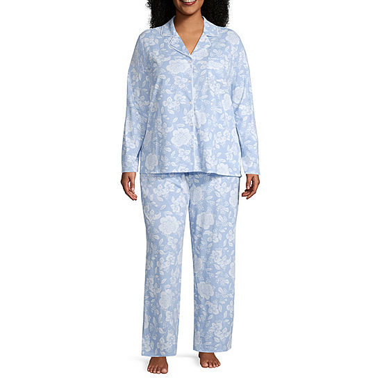 873df021c6 Adonna Long Sleeve Notch Collar Pajama Set- Plus - JCPenney