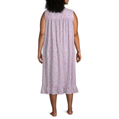 Adonna Womens Plus Jersey Nightgown Sleeveless Sweetheart Neck