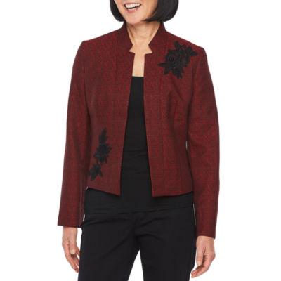 Black Label by Evan-Picone Long Sleeve Applique Suit Jacket