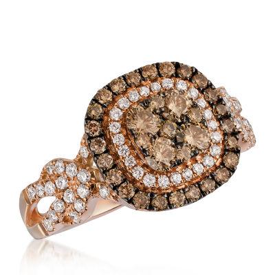 LIMITED QUANTITIES Le Vian Grand Sample Sale™ Ring featuring Chocolate Diamonds®, Vanilla Diamonds® set in 14K Strawberry Gold®