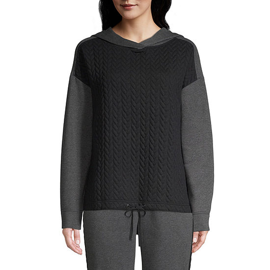 St. John's Bay Active Quilted Texture Mix Hoodie - Tall