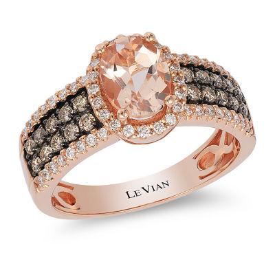 LIMITED QUANTITIES Le Vian Grand Sample Sale™ Peach Morganite™ and 1/2 CT. T.W. Vanilla & Chocolate Diamonds™ 14K Strawberry Gold® Ring