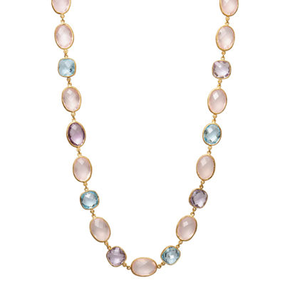 Splendid Pearls Womens 9MM Multi Color Cultured Freshwater Pearl 14K Gold Strand Necklace