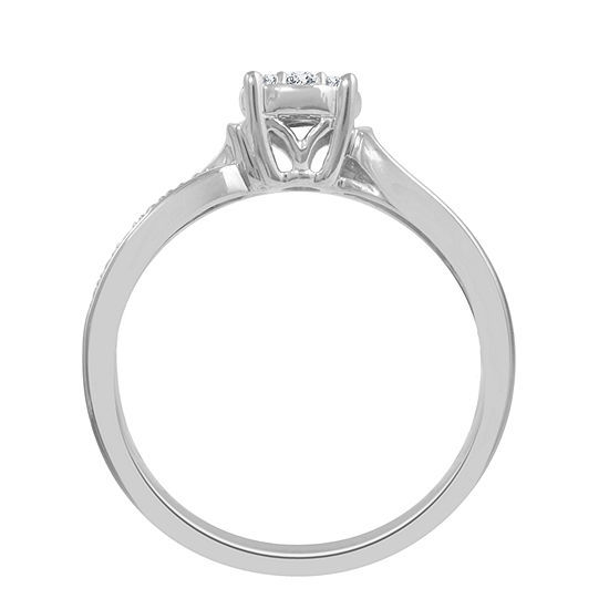 Womens 1/6 CT. T.W. Genuine White Diamond Sterling Silver Promise Ring