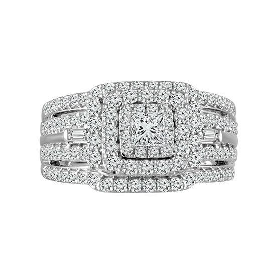 Modern Bride 88 Facet Womens 1 1/2 CT. T.W. Genuine White Diamond 14K White Gold Engagement Ring