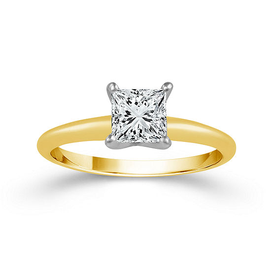 Womens 1/4 CT. T.W. Genuine White Diamond 14K Gold Solitaire Engagement Ring