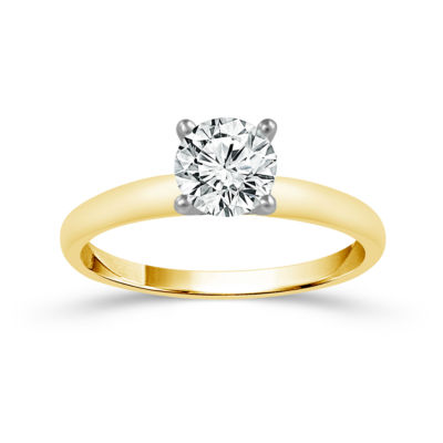 Womens 1/2 CT. T.W. Genuine White Diamond 14K Gold Solitaire Ring
