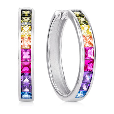 Diamonart Multi Color Cubic Zirconia Sterling Silver Hoop Earrings