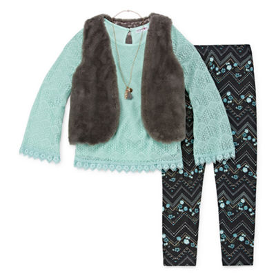 Knit Works Fur Vest Legging Set - Girls' 4-16 & Plus