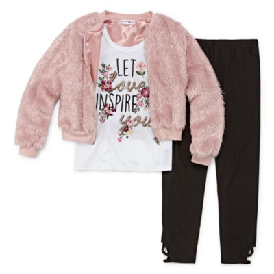Knit Works Fur Bomber Legging Set - Girls' 4-16 & Plus