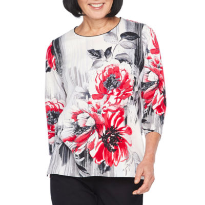 Alfred Dunner Sutton Place 3/4 Sleeve Round Neck Abstract T-Shirt-Womens