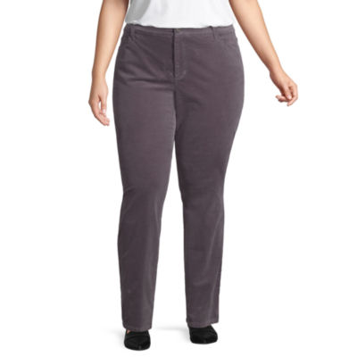 St. John's Bay Secretly Slender Straight Leg Cord Pant- Plus