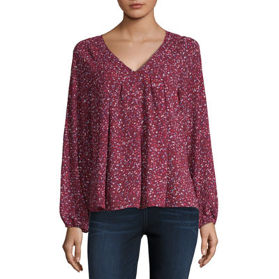 A N A Womens V Neck Long Sleeve Blouse Jcpenney