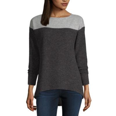 Liz Claiborne-Womens Boat Neck Long Sleeve T-Shirt