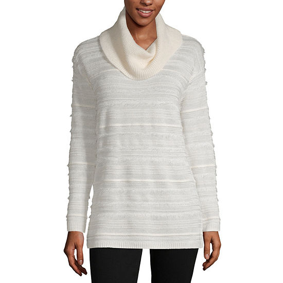 Liz Claiborne Womens Cowl Neck Long Sleeve Striped Pullover Sweater