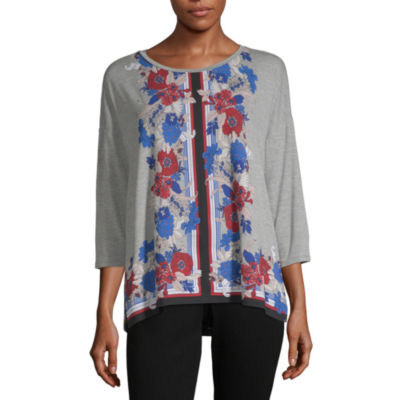 Liz Claiborne Womens Round Neck 3/4 Sleeve Knit Blouse