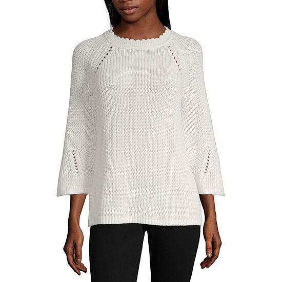 Liz Claiborne Womens Crew Neck 3/4 Sleeve Pullover Sweater