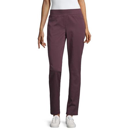 Liz Claiborne Classic Fit Comfort Stretch Pull On Pant, X-small , Purple