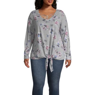 Boutique + Long Sleeve Knot Front T-Shirt-Womens Plus