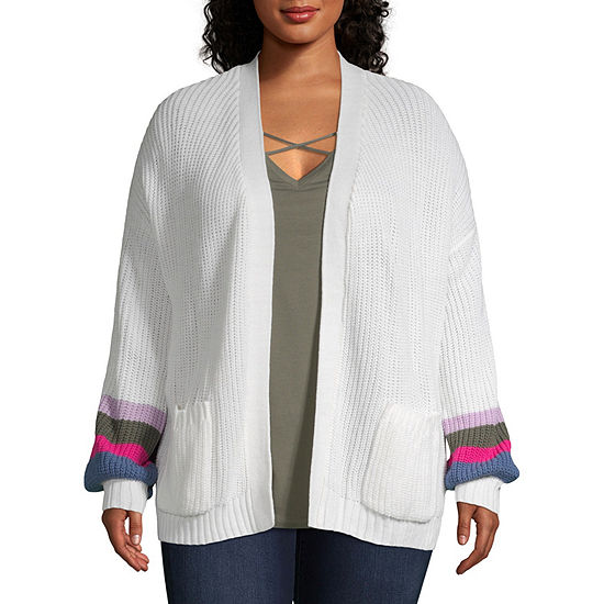 Boutique + Womens Long Sleeve Open Front Bordered Cardigan - Plus
