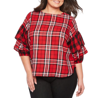 Boutique + Ruffle Sleeve Woven Plaid Blouse - Plus