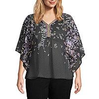 b7849708ff919 Zac and Rachel ¾ Kimono Sleeve Woven Blouse – Plus