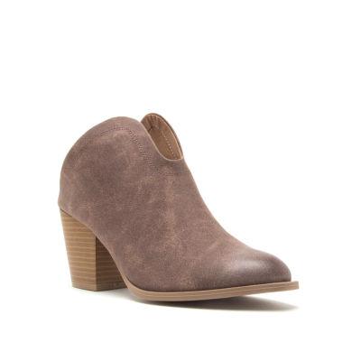 Qupid Womens Prenton-01 Booties Stacked Heel Slip-on
