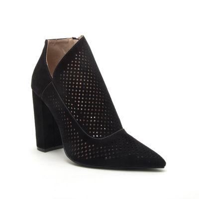 Qupid Womens Signal-47 Booties Block Heel Zip