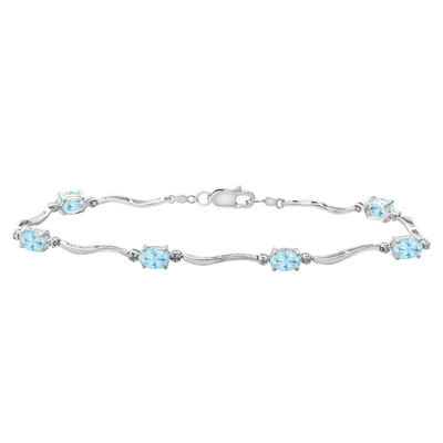 Genuine Aquamarine & Diamond-Accent Bracelet