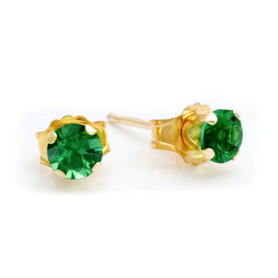 Lab-Created 4mm Emerald 10K Yellow Gold Stud Earrings