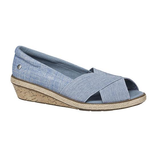 Grasshoppers Womens Peach Peep Toe Slip-On Shoes