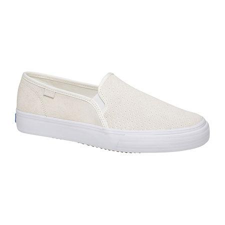 Keds Womens Double Decker Suede Slip-On Shoe, 9 Medium, White